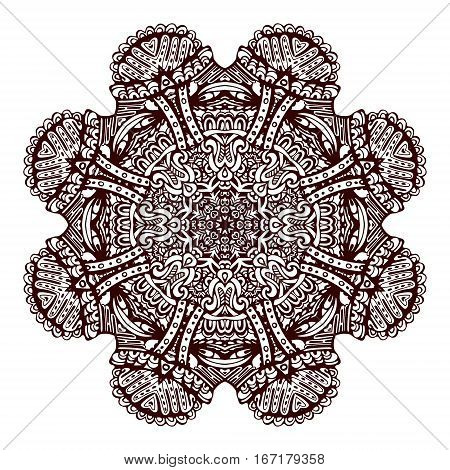 Floral mandala design. Ethnic round pattern. Vector design for adult coloring book. Decorative mandala background.Line art henna mandala isolated on white.