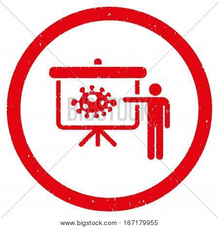 Bacteria Lecture grainy textured icon inside circle for overlay watermark stamps. Flat symbol with unclean texture.