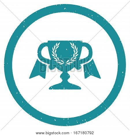 Award Cup grainy textured icon inside circle for overlay watermark stamps. Flat symbol with dirty texture.