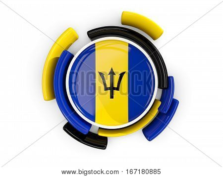 Round Flag Of Barbados With Color Pattern