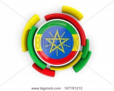 Round Flag Of Ethiopia With Color Pattern
