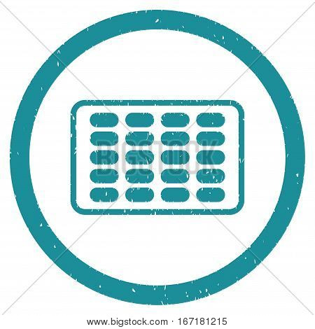Blister grainy textured icon inside circle for overlay watermark stamps. Flat symbol with dust texture. Circled dotted vector soft blue ink rubber seal stamp with grunge design on a white background.