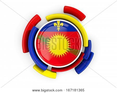 Round Flag Of Guadeloupe With Color Pattern