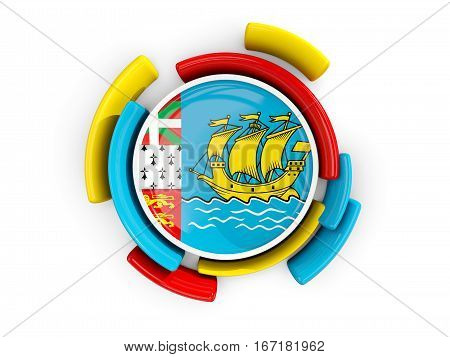 Round Flag Of Saint Pierre And Miquelon With Color Pattern