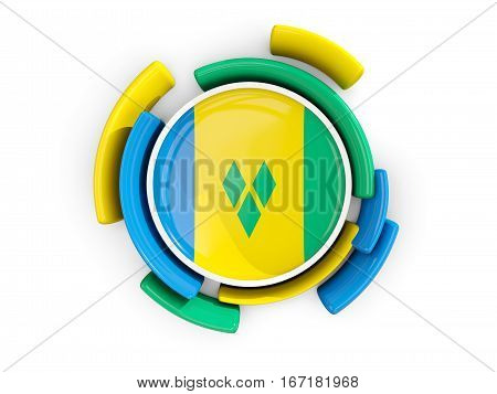 Round Flag Of Saint Vincent And The Grenadines With Color Pattern