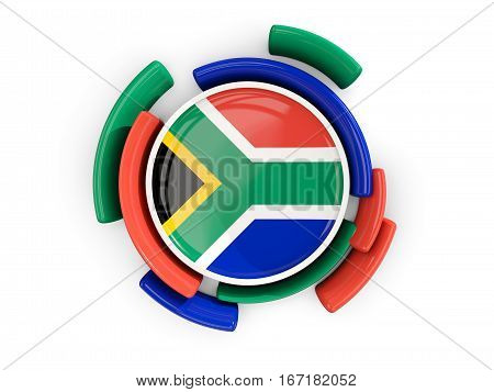 Round Flag Of South Africa With Color Pattern