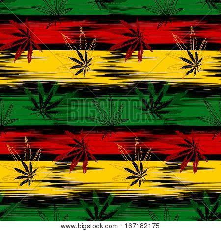 Abstract seamless pattern from marijuana cannabis on Rastafarian background colors. Vector Illustration