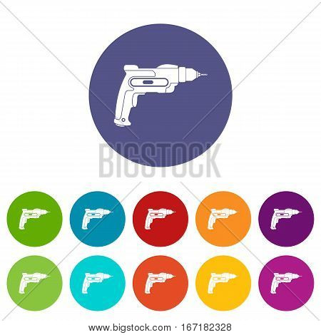 Hand drill set icons in different colors isolated on white background