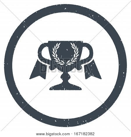 Award Cup grainy textured icon inside circle for overlay watermark stamps. Flat symbol with unclean texture.