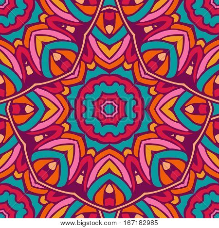 Colorful circle flower mandalas geometric seamless pattern in blue pink and orange. Background with stylized abstract plates. Template for shawl, carpet, wallpaper, wrapping.