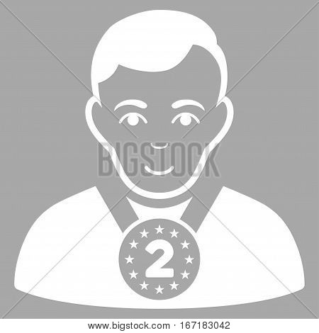 2nd Prizer Sportsman vector icon. Flat white symbol. Pictogram is isolated on a silver background. Designed for web and software interfaces.