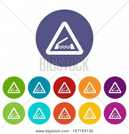 Lifting bridge warning sign set icons in different colors isolated on white background