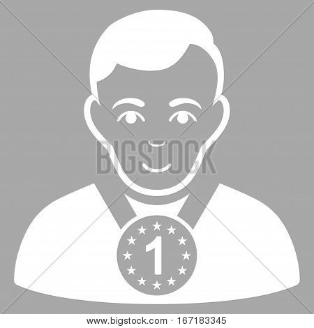 Champion vector icon. Flat white symbol. Pictogram is isolated on a silver background. Designed for web and software interfaces.