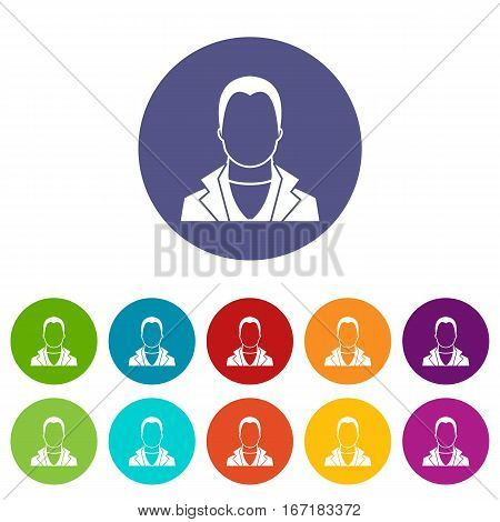 User set icons in different colors isolated on white background