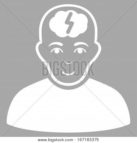 Clever Boy vector icon. Flat white symbol. Pictogram is isolated on a silver background. Designed for web and software interfaces.