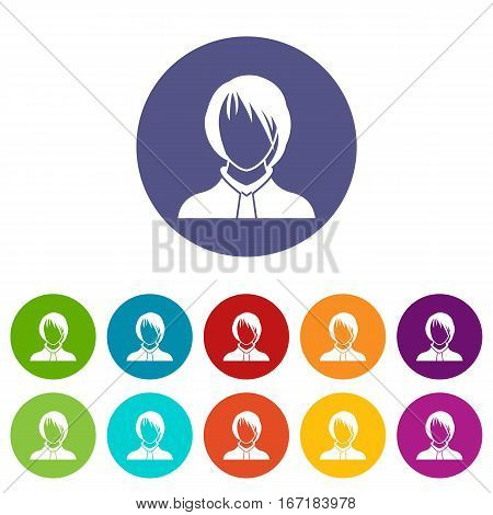Woman set icons in different colors isolated on white background