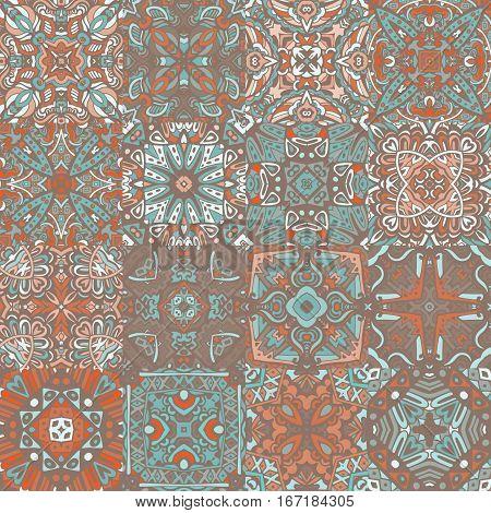 set of seamless pattern. Vintage decorative elements. Oriental pattern, vector illustration. ceramictiles design collection