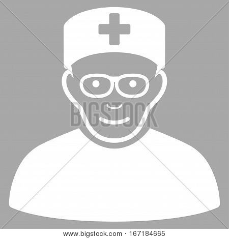 Medical Specialist vector icon. Flat white symbol. Pictogram is isolated on a silver background. Designed for web and software interfaces.