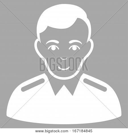 Officer vector icon. Flat white symbol. Pictogram is isolated on a silver background. Designed for web and software interfaces.