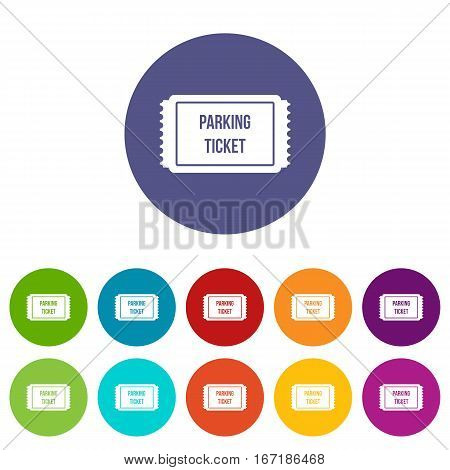 Parking ticket set icons in different colors isolated on white background