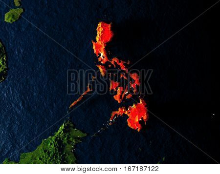 Philippines In Red From Space At Night