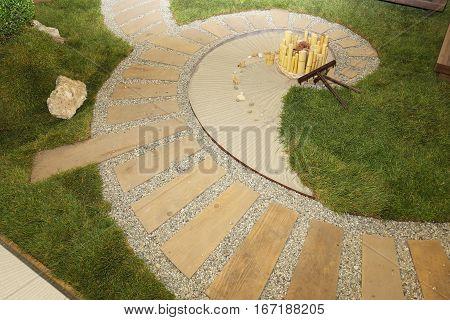 Japanese Style Zen Garden Spiral Dry Landscape