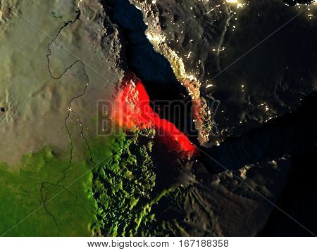 Eritrea In Red From Space At Night