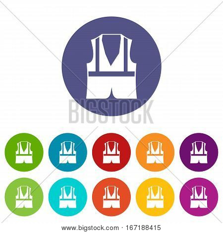 Vest set icons in different colors isolated on white background