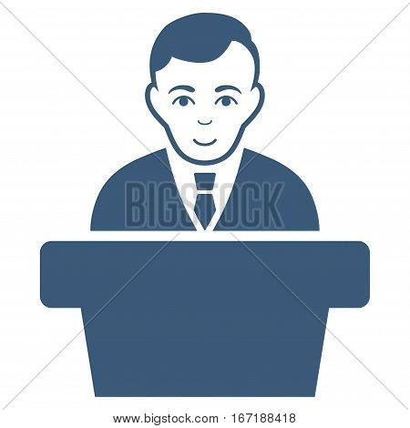 Politician vector icon. Flat blue symbol. Pictogram is isolated on a white background. Designed for web and software interfaces.