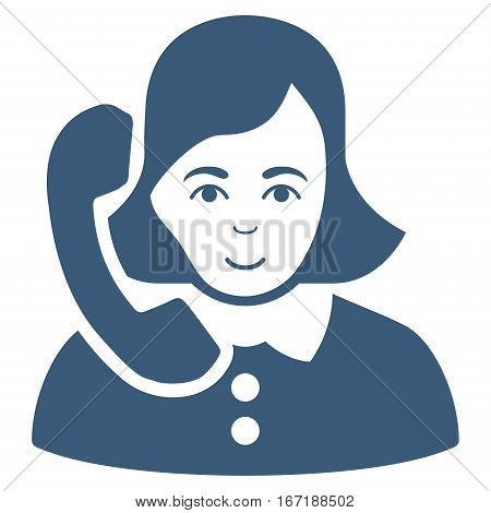 Receptionist vector icon. Flat blue symbol. Pictogram is isolated on a white background. Designed for web and software interfaces.