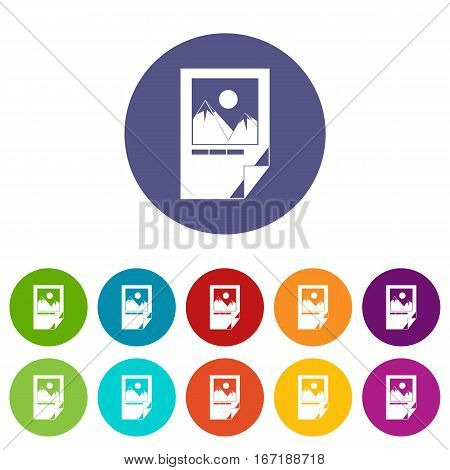 Tested ink paper with printer marks set icons in different colors isolated on white background