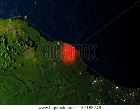 French Guiana In Red From Space At Night