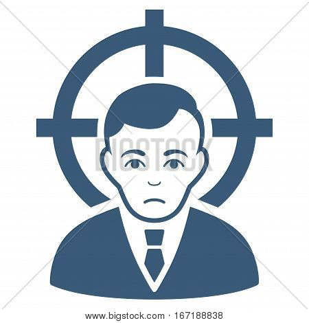 Victim Businessman vector icon. Flat blue symbol. Pictogram is isolated on a white background. Designed for web and software interfaces.