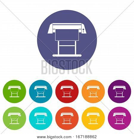 Large format inkjet printer set icons in different colors isolated on white background