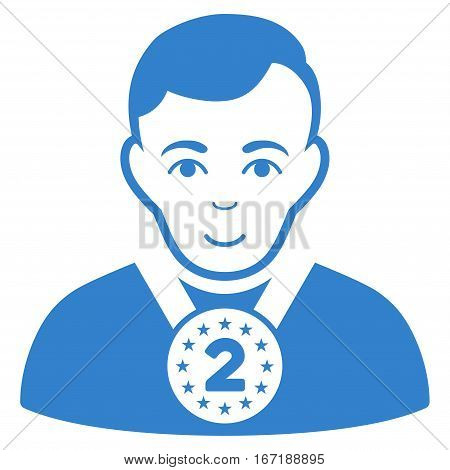 2nd Prizer Sportsman vector icon. Flat cobalt symbol. Pictogram is isolated on a white background. Designed for web and software interfaces.