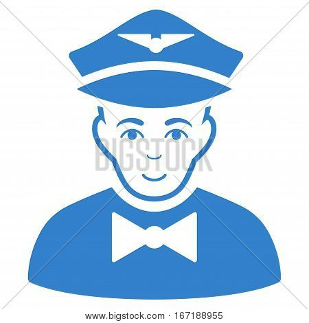 Airline Steward vector icon. Flat cobalt symbol. Pictogram is isolated on a white background. Designed for web and software interfaces.