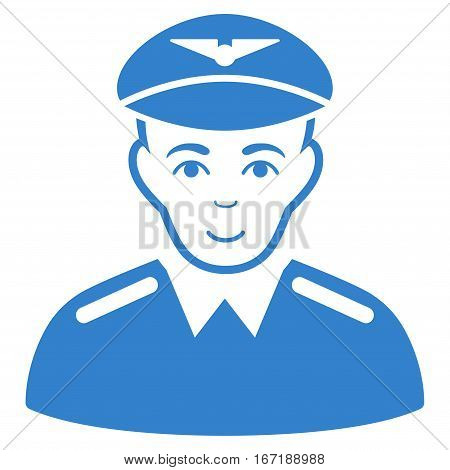 Aviator vector icon. Flat cobalt symbol. Pictogram is isolated on a white background. Designed for web and software interfaces.
