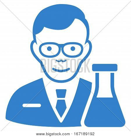 Chemist vector icon. Flat cobalt symbol. Pictogram is isolated on a white background. Designed for web and software interfaces.