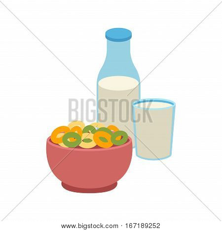 Semolina porridge with cornflakes and milk. Healthy white breakfast with berries. Organic cereal meal pudding dessert sweet milk vector food bowl.