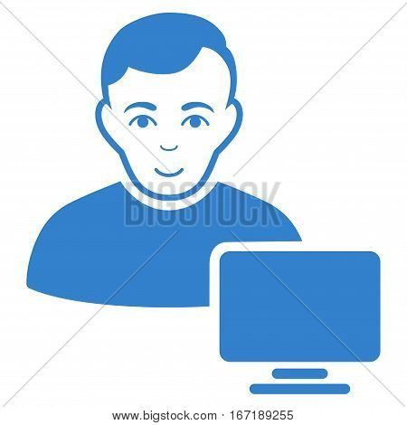 Computer Administrator vector icon. Flat cobalt symbol. Pictogram is isolated on a white background. Designed for web and software interfaces.