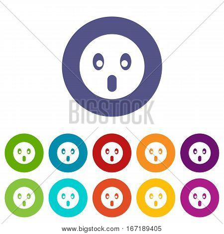 Frightened emoticon set icons in different colors isolated on white background
