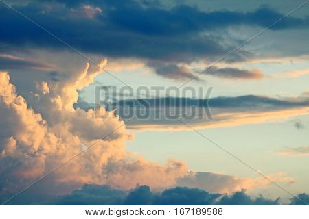 the a colourful clouds heaven at sunset