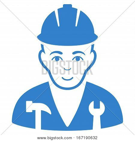 Serviceman vector icon. Flat cobalt symbol. Pictogram is isolated on a white background. Designed for web and software interfaces.