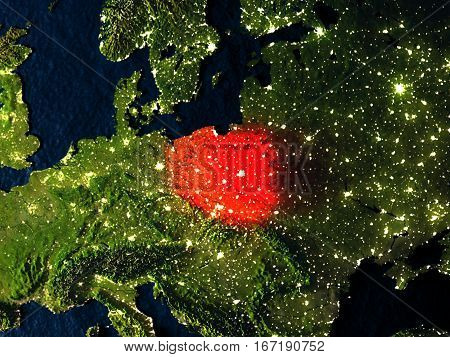 Poland In Red From Space At Night