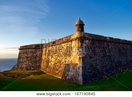 Sentry box at the fort in San Juan Puerto Rico at sunset