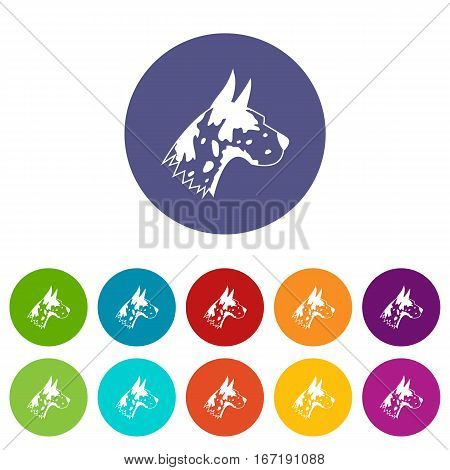 Great dane dog set icons in different colors isolated on white background