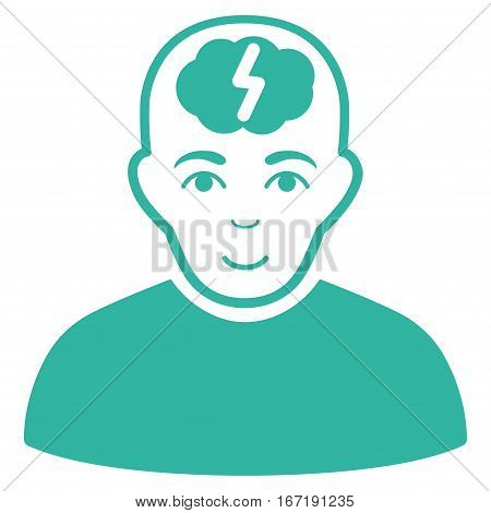 Clever Boy vector icon. Flat cyan symbol. Pictogram is isolated on a white background. Designed for web and software interfaces.