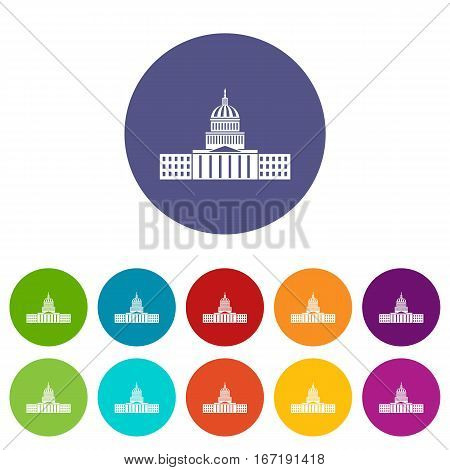 Capitol set icons in different colors isolated on white background