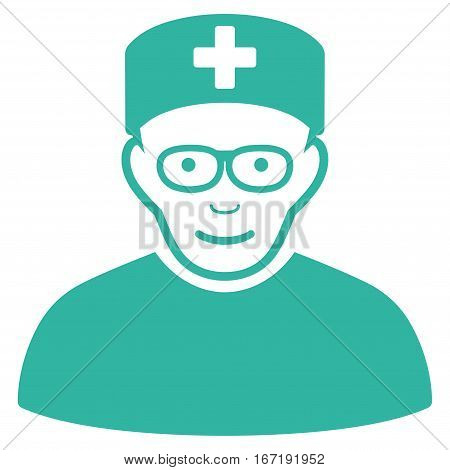 Medical Specialist vector icon. Flat cyan symbol. Pictogram is isolated on a white background. Designed for web and software interfaces.
