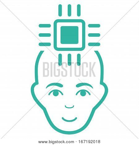 Neural Computer Interface vector icon. Flat cyan symbol. Pictogram is isolated on a white background. Designed for web and software interfaces.